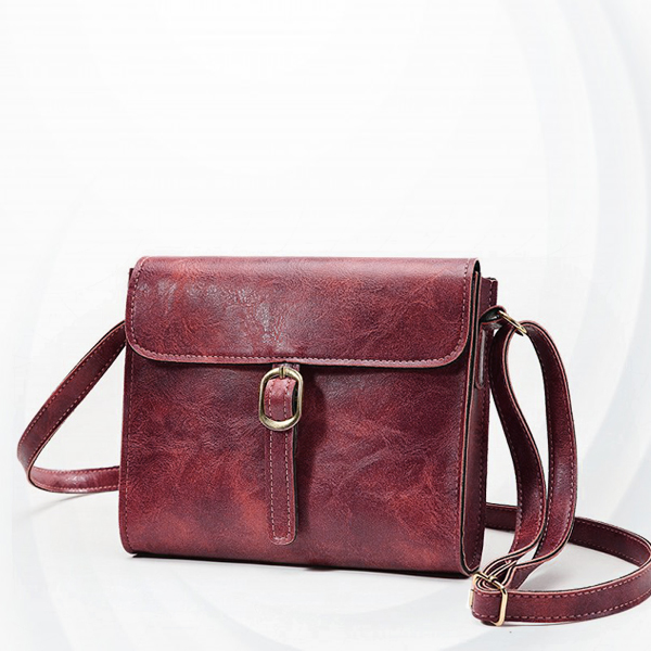 Buckle Style Magnetic Square Messenger Bags - Burgundy