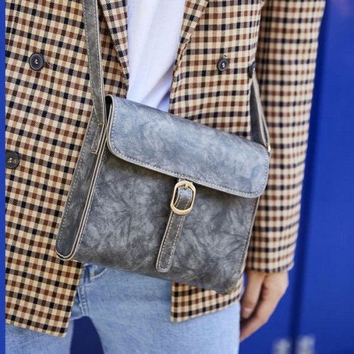 Buckle Style Magnetic Square Messenger Bags - Grey