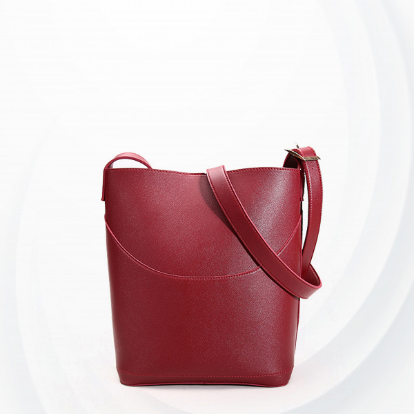 Magnetic Closure Wide Space Bucket Bags - Burgundy