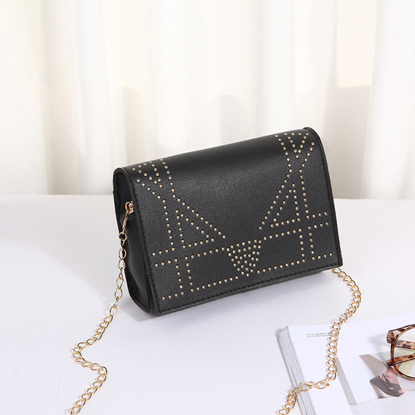 Rivets Decorated Chain Strapped Messenger Bags - Black