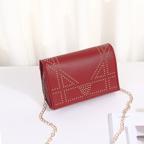 Rivets Decorated Chain Strapped Messenger Bags - Red