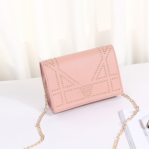 Rivets Decorated Chain Strapped Messenger Bags - Pink