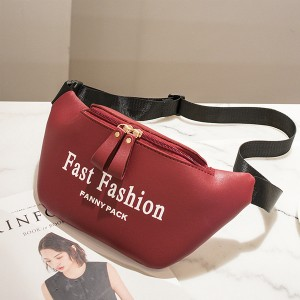 Canvas Strapped PU Leather Fanny Packs - Burgundy