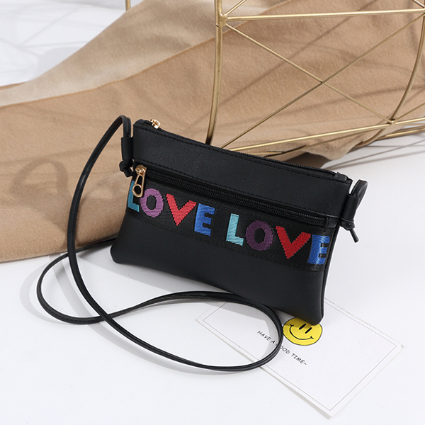 Love Patched String  Messenger bags - Black