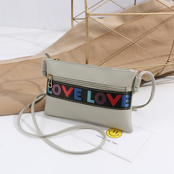 Love Patched String  Messenger bags - Gray