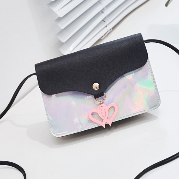 Holographic Envelope Shape Messenger Bags - Black