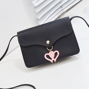 Double Hearts PU Leather Messenger Bags - Black