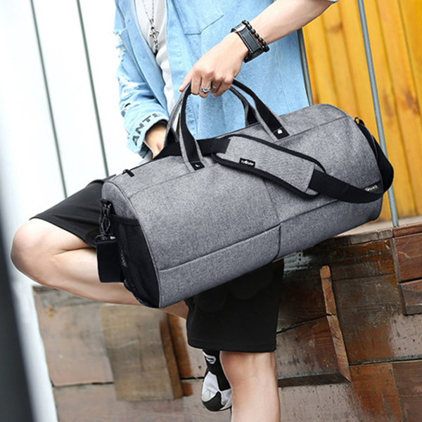 Wide Space Gray Canvas Traveller Bag