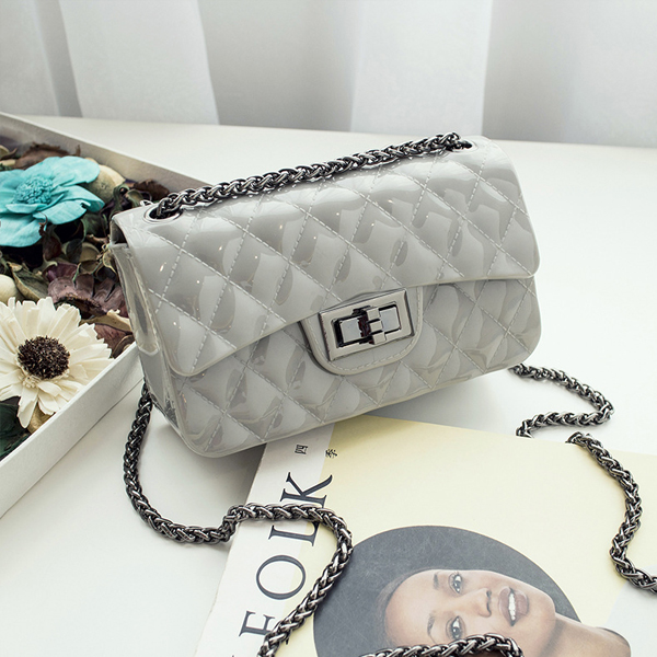 Trunk Lock Chain Strapped Party Bags - Grey