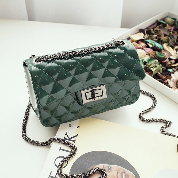 Trunk Lock Chain Strapped Party Bags - Green
