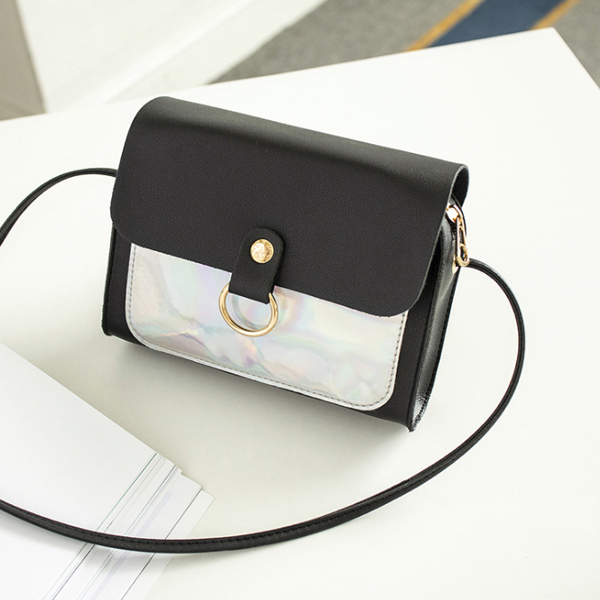 Holographic Contrast PU Textured Purse - Black