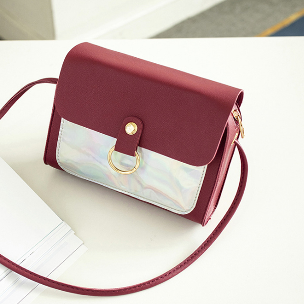 Holographic Contrast PU Textured Purse - Burgundy