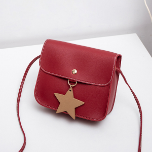 Box Shape Star PU Leather Messenger Bags - Burgundy