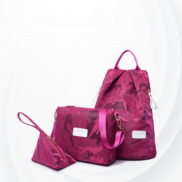 Three Pieces Women Traveller Bags Set - Pink