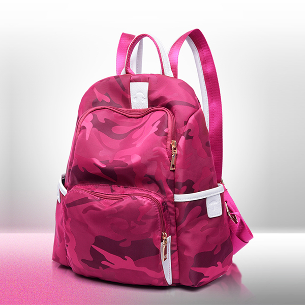 Camouflage Prints Nylon Travel Backpacks - Pink