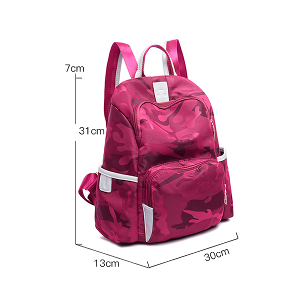 Camouflage Prints Nylon Travel Backpacks - Purple