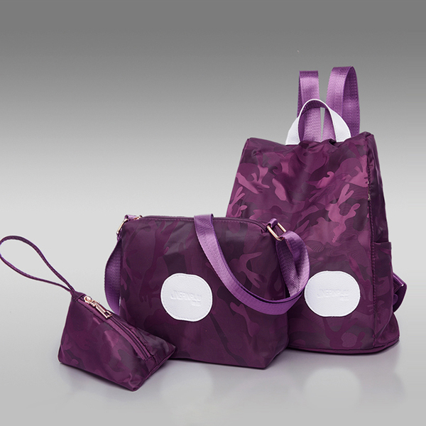 Three Pieces Printed Camouflage Backpacks Set - Purple