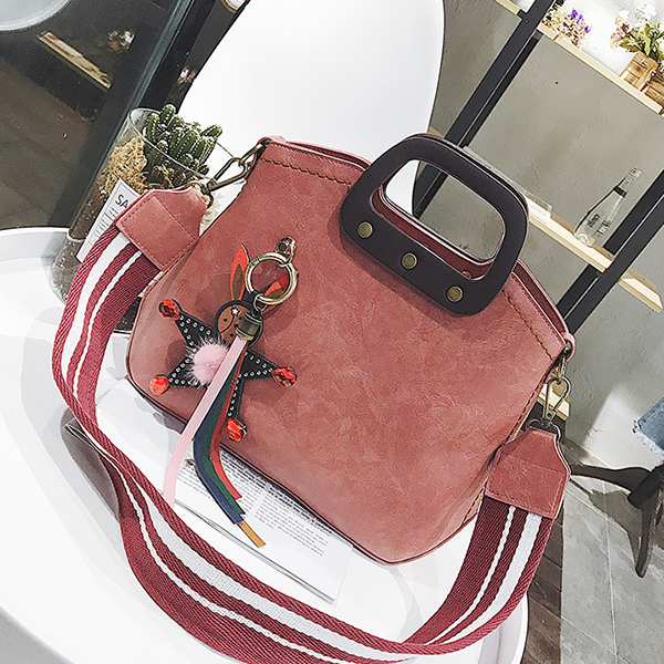 Retro Pink PU Leather High Quality Messenger Bag