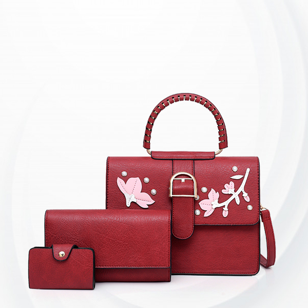 Floral Art Cute Three Pieces Handbags Set - Burgundy