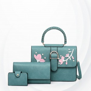 Floral Art Cute Three Pieces Handbags Set - Green