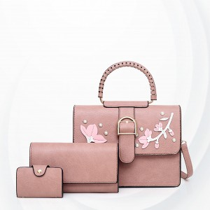 Floral Art Cute Three Pieces Handbags Set - Pink