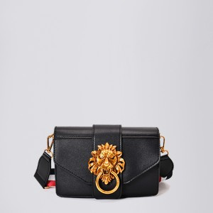 Lion Head Golden Square Messenger Bags - Black