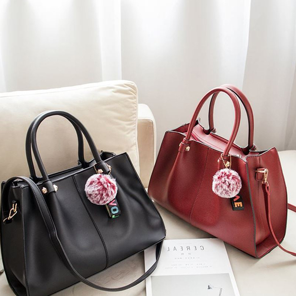 Three Pieces Synthetic Leather Handbags Set - Black