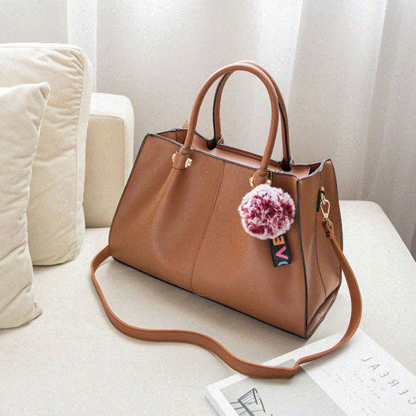 Three Pieces Synthetic Leather Handbags Set - Brown