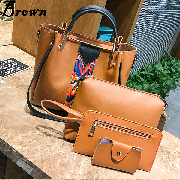 Four Pieces Bohemian Contrast Red Handbags Set
