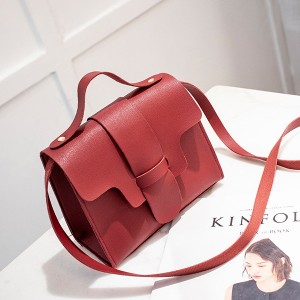 PU Leather Cut Out Design Messenger Bags - Burgundy