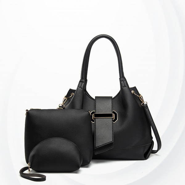 Three Pieces Belt Buckle Casual Handbags Set - Black