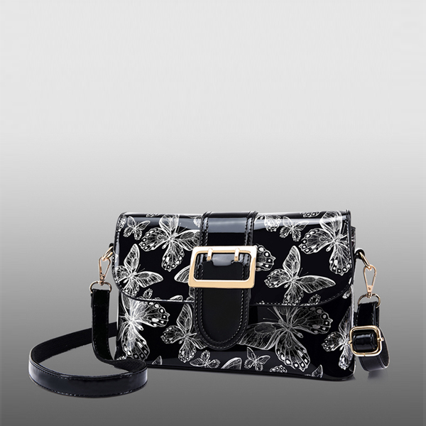 Butterfly Pattern Shiny Buckle Messenger Bags - Black
