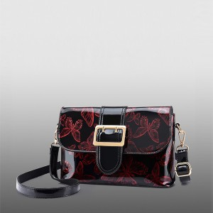 Butterfly Pattern Shiny Buckle Messenger Bags - Burgundy