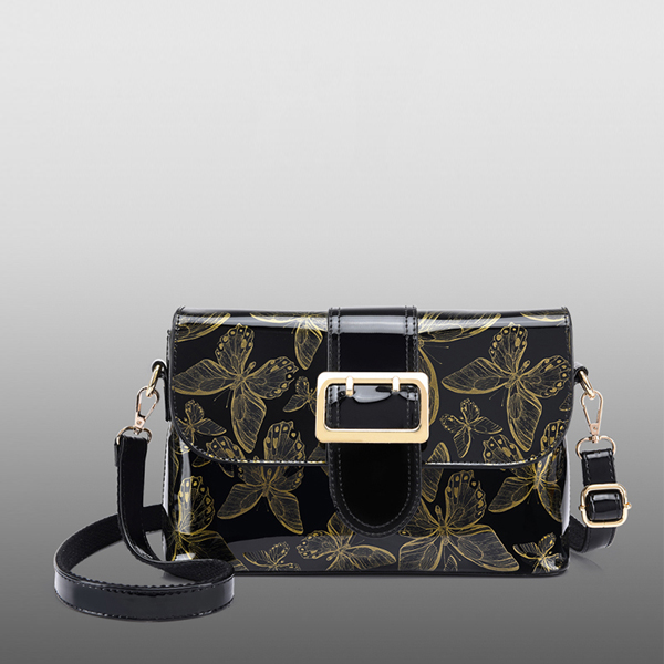 Butterfly Pattern Shiny Buckle Messenger Bags - Golden