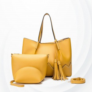 Zig Zag Rivets Decorative Tassel Handbags Set - Yellow