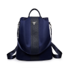 Leather Strap Simple Canvas Backpack - Blue