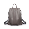 Leather Strap Simple Canvas Backpack - Khaki