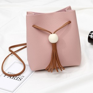Tassel Ball Drawstring Bucket Bags - Pink