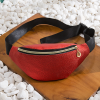 Leather Textured Zipper Fanny Pack - Red