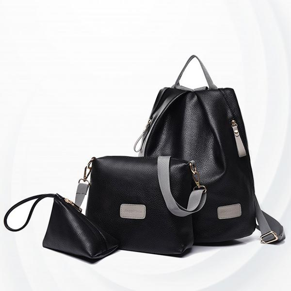Pu Leather Three-piece Set Mother Child Backpack - Black