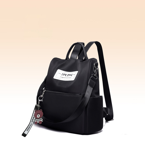 Canvas Cat Hanging Women Solid Color Backpack - Black
