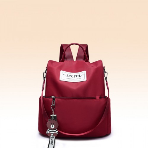 Canvas Cat Hanging Women Solid Color Backpack - Red