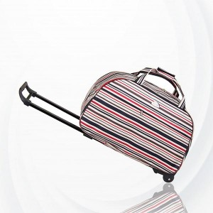 Metal Trolley Large Capacity Waterproof Travel Bag - Light Pink
