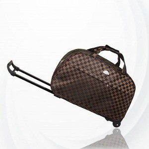 Metal Trolley Large Capacity Waterproof Travel Bag - Coffee