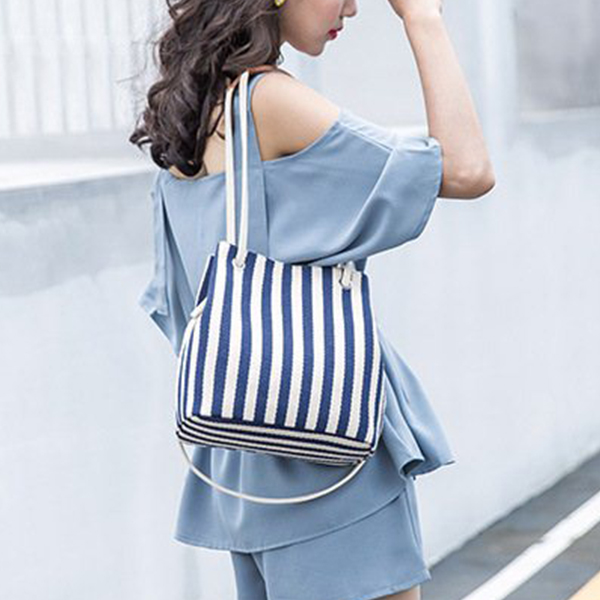 Rope Strap Lining Pattern Shoulder Bags - Blue