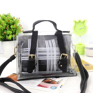 Magnetic Closure Two Piece Jelly Messenger Bags - Black