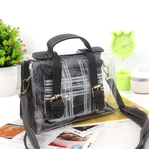 Magnetic Closure Two Piece Jelly Messenger Bags - Gray