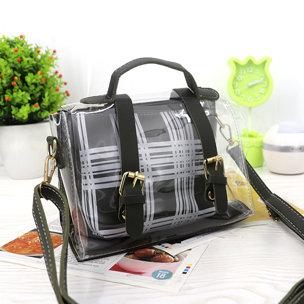 Magnetic Closure Two Piece Jelly Messenger Bags - Dark Green