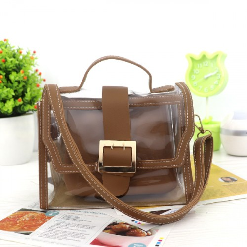 Magnetic Closure Two Piece Transparent Messenger Bag - Brown