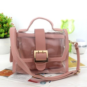 Magnetic Closure Two Piece Transparent Messenger Bag - Pink